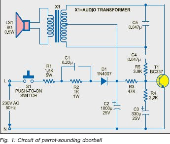 Circuit zone electronic projects electronic schematics diy parrot sounding ac door bell cheapraybanclubmaster Image collections
