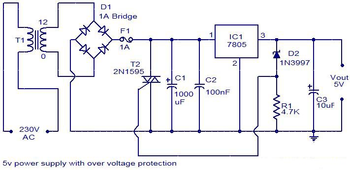 circuit zone com electronic projects electronic schematics diy 5v power supply overvoltage protection