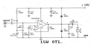 circuit zone com electronic projects, electronic schematics, diytda2030 amp otl 15w