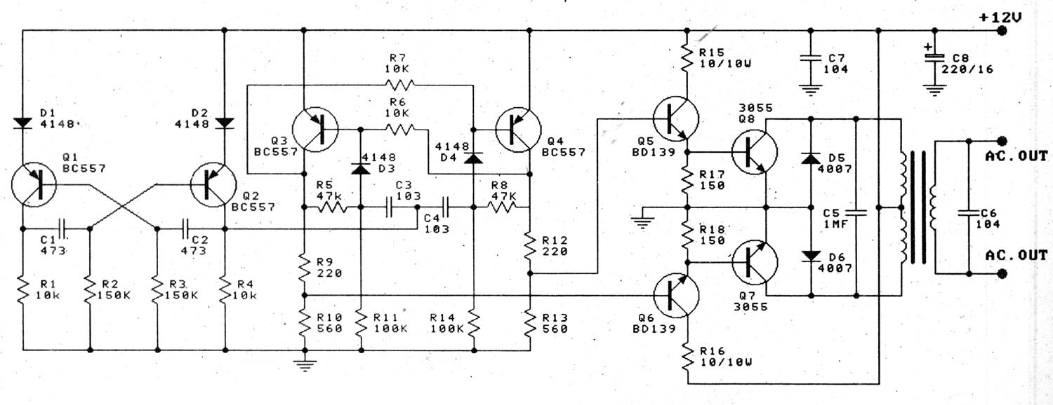 Electronic Projects Schematics Diy Circuit Diagram Pure Sine Wave Inverter 12v To 220v 100w Transistor