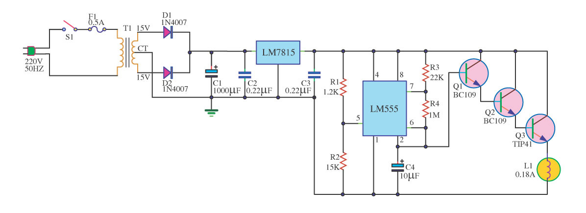 Table Lamp Circuit With LM555