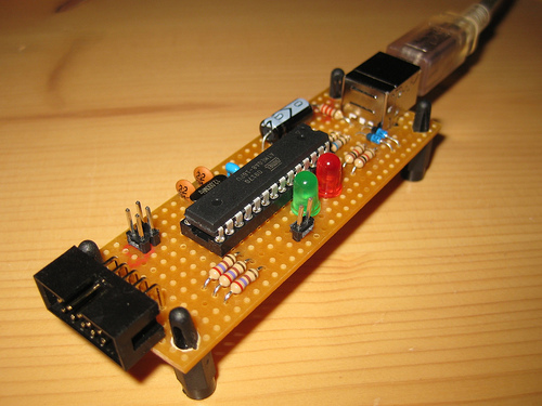 USB AVR Programmer is made of an Atmega8 and few components.  The programmer uses a firmware driver that makes this...