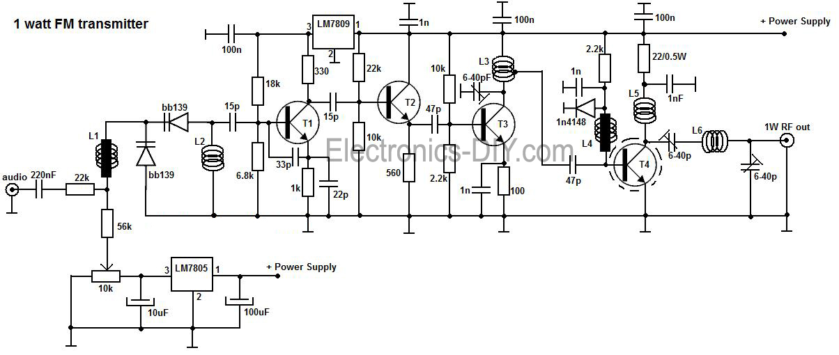 circuit zone com electronic projects, electronic schematics, diy1w fm transmitter
