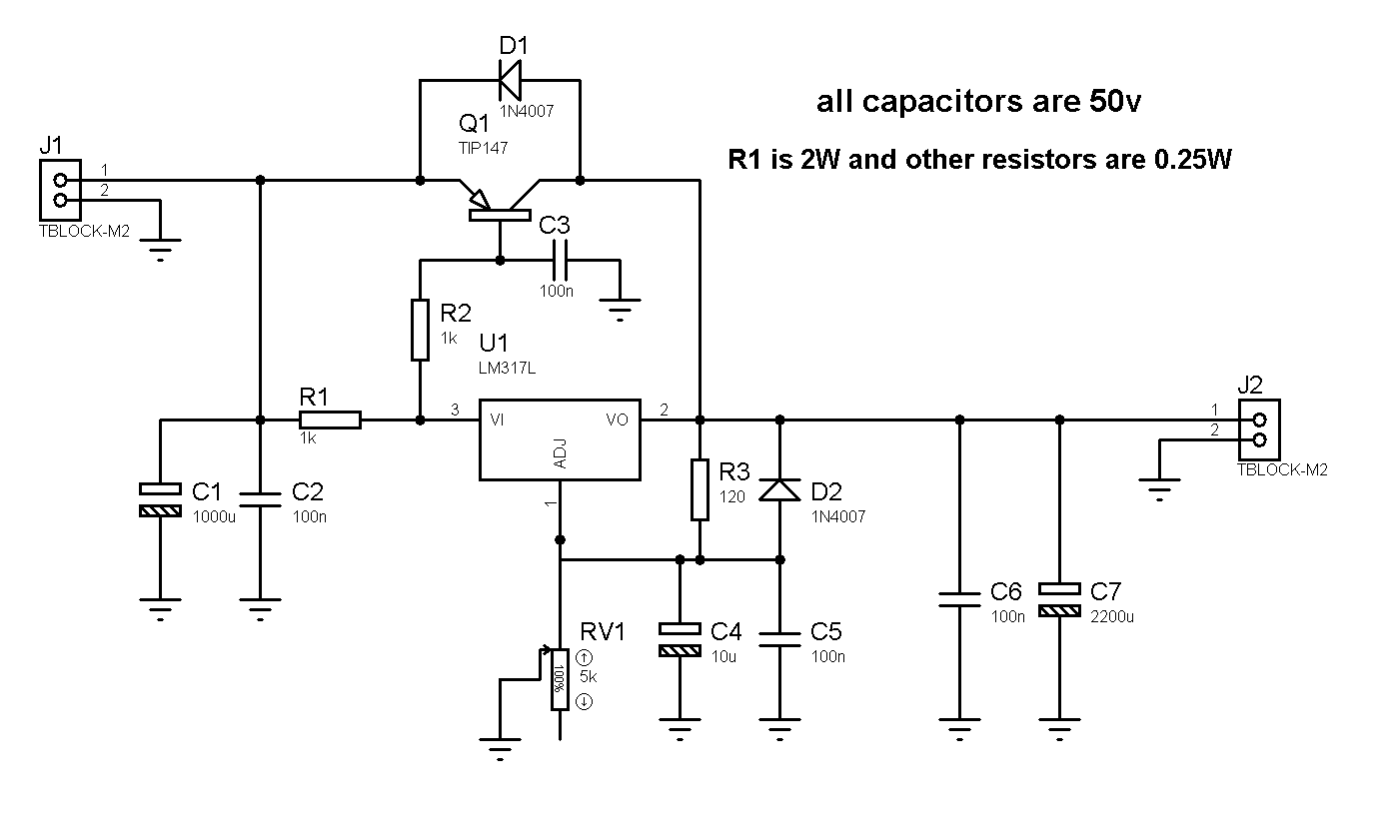 Electronic Projects Schematics Diy Circuit For 12 36v 5a Adjustable Power Supply With Lm317