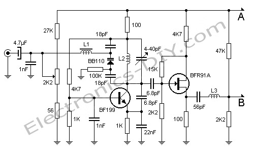 Ham Radio Wiring Diagram together with Vacuum Tube Am Radio Schematic additionally  furthermore Simple Audio Oscillator Circuit And additionally Wideband Vhf Pre lifier. on electronic transmitter and receiver